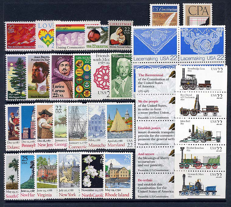 1987  US Commemorative Stamp Year Set; 2246-51, 2267-75, 2336-2368